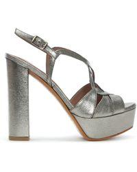 Albano - Hasdo Pewter Leather Platform Sandals - Lyst