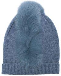 1ada361a810 Charlotte Simone - Mo Mohawk Blue Fur Beanie Hat - Lyst