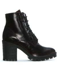 Manufacture D'essai - Burgundy Patent Leather Block Heel Ankle Boots - Lyst