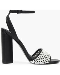 b79fc457b Kendall + Kylie - Genna White   Black Leather Block Heel Sandals - Lyst