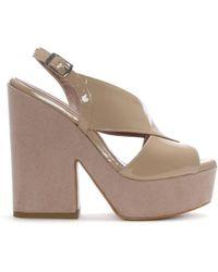 Albano - Batala Nude Patent Leather Cross Strap Platform Sandals - Lyst