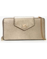 Michael Kors - Small Convertible Pale Gold Smartphone Cross-body Bag - Lyst