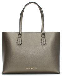 Emporio Armani - Borsa Textured Silver Shopper Bag - Lyst