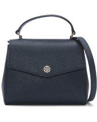 e0e24d90a8ee Tory Burch Amanda Fold Over Messenger Bag - Royal Tan in Black - Lyst