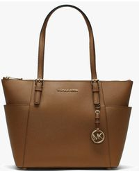 Michael Kors - Jet Set Pocket Acorn Leather Top Zip Tote Bag - Lyst