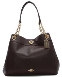 COACH - Turnlock Edie Oxblood Polished Pebbled Leather Shoulder Bag - Lyst