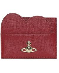 Vivienne Westwood - Pimlico Heart Red Textured Leather Card Holder - Lyst