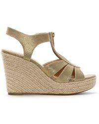 Michael Kors - Berkley Pale Gold Leather Wedge Sandals - Lyst
