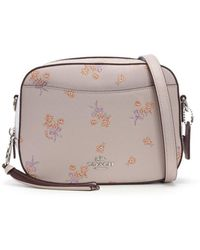 COACH - Camera Ice Pink Pebbled Leather Floral Bow Cross-body Bag - Lyst 97e08979beda7