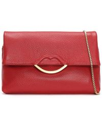 Lulu Guinness - Issy Half Covered Lip Grainy Red Leather Cross-body Bag - Lyst