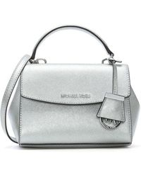 Michael Kors - Ava Mini Silver Leather Cross-body Bag - Lyst