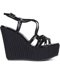 Albano | Bellini Black Patent Leather Lattice Wedge Sandals | Lyst