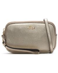 COACH - Polished Platinum Pebbled Leather Cross-Body Clutch Bag - Lyst