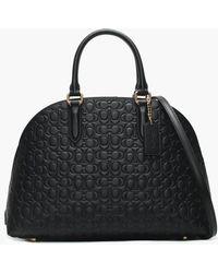 COACH - Quinn Black Signature Leather Satchel Bag - Lyst