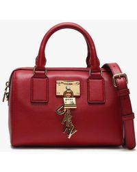 DKNY - Elissa Speedy Red Leather Barrel Bag - Lyst