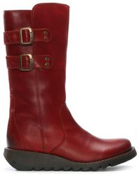 Fly London | Suli Red Leather Wedge Low Knee Boots | Lyst
