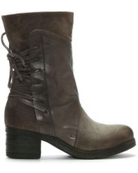 Moda In Pelle - Galene Grey Leather Lace Back Calf Boots - Lyst