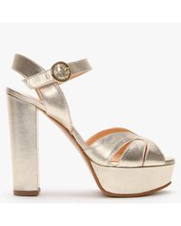 Daniel Perala Gold Leather Platform Sandals - Metallic