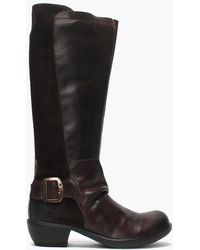 Fly London - Miss Dark Brown Leather & Suede Big Buckle Knee Boots - Lyst