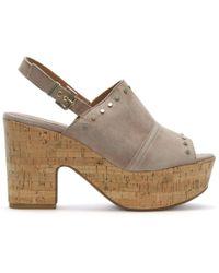 Daniel Footwear - Santander Nude Suede Cork Platform Sandals - Lyst