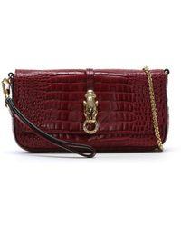 Class Roberto Cavalli - Purple Reptile Leather Evening Bag - Lyst
