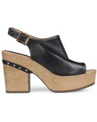 Daniel Footwear - Cagney Black Leather Platform Sandals - Lyst