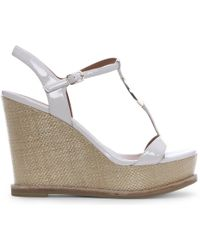 Emporio Armani - White Patent Leather Raffia Wedge Sandals - Lyst