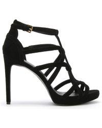 Michael Kors - Sandra Black Suede Cut Out Platform Sandals - Lyst