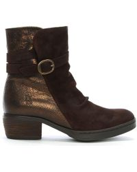 Fly London - Cimp Brown Suede Contrast Ankle Boots - Lyst