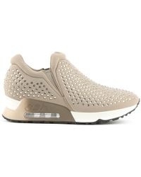 Ash - Lifting Taupe Neoprene & Gemstone Trainer - Lyst