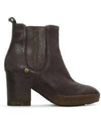 Manufacture D'essai | Taupe Leather Crepe Sole Ankle Boots | Lyst