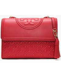 Tory Burch - Fleming Convertible Brilliant Red Leather Shoulder Bag - Lyst