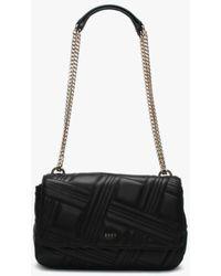 DKNY Large Allen Black Leather Quilted Shoulder Bag