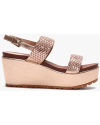 Moda In Pelle Pinchello Rose Gold Embellished Wedge Sandals