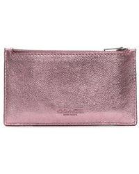 COACH - Zip Metallic Blush Primrose Sport Calf Leather Card Case - Lyst