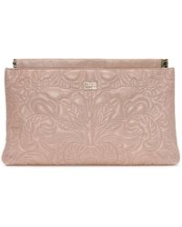 Class Roberto Cavalli | Chloe Pink Leather Embroidered Clutch Bag | Lyst