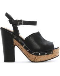 Donna Più - Black Leather Studded Platform Sandals - Lyst