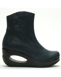 Fly London - Hepi Reef Leather Cut Away Wedge Boots - Lyst