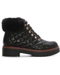 Moda In Pelle - Berrina Black Leather Studded Hiker Boots - Lyst