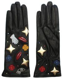 Agnelle - Patch Motif Black Leather Gloves - Lyst