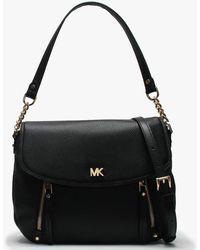 717ff987c1b4 Michael Kors - Medium Evie Black Leather Shoulder Bag - Lyst