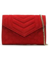 Daniel - Alcove Red Suede Quilted Clutch Bag - Lyst