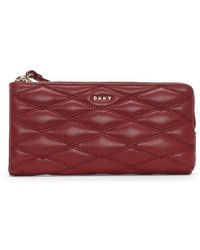 DKNY - Lara Medium Scarlet Quilted Leather Wristlet Pouch - Lyst