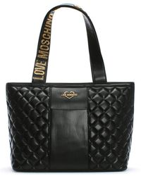 8b83beac57 Love Moschino - Jersey Black Leather Quilted Shopper Bag - Lyst