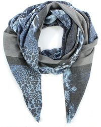 Daniel - Luxe Stripe Navy Cotton Mix Leopard Scarf - Lyst