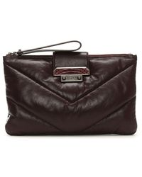 Class Roberto Cavalli | Nappa Lux Quilted Burgundy Leather Clutch Bag | Lyst