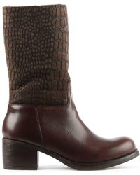 Moda In Pelle - Brown Leather Moc Croc Calf Boot - Lyst