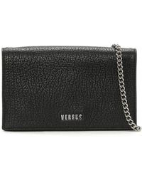 Versus - Pebbled Black Leather Wallet With Chain - Lyst