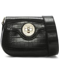 Emporio Armani - Croc Sling Black Embossed Cross-body Bag - Lyst