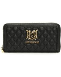 Love Moschino - Large Quilted Black Zip Around Wallet - Lyst